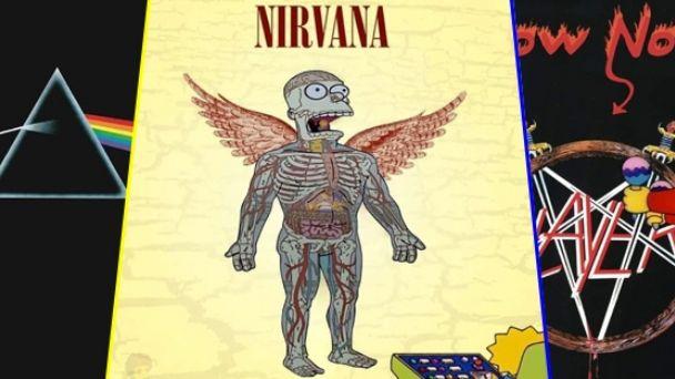 Los Simpsons en las portadas de los mejores discos de rock